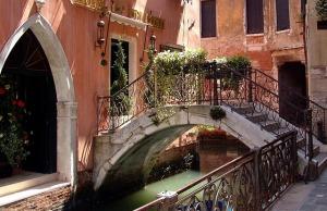 A bridge over a canal in Venice.