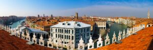 View of the architecture and canals in Venice.